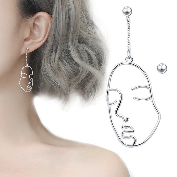 925 Sterling Silver Asymmetry Face Drop Earrings for Women Gift Party Jewelry Accessories pendientes boucle d oreille eh211