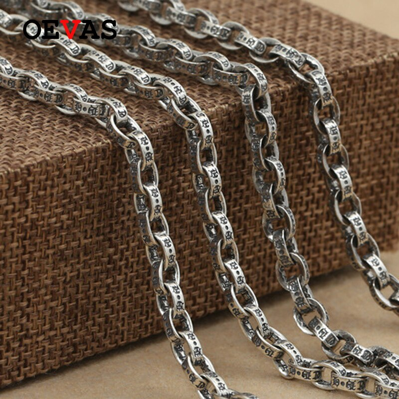 S925 Sterling Silver Retro Thai Silver Fashion brand Link Chain Necklace Top quality Pure Silver 4.5mm/5mm Men Gothic Jewelry