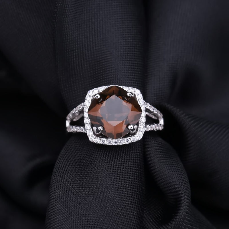GEM'S BALLET Natural Smoky Quartz Jewelry Set For Women Wedding 925 Sterling Silver Earrings Ring Pendant Set Fine Jewelry