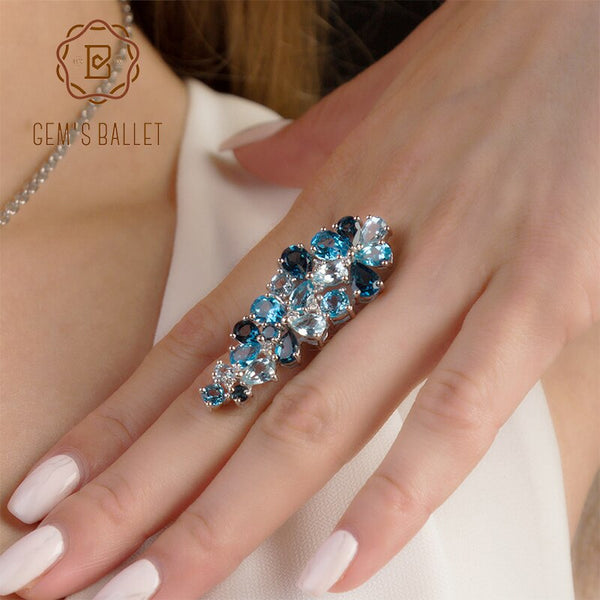 Gem's Ballet Brand Hot Fashion Natural London Blue Topaz Gemstone Rings Genuine 925 Sterling Silver Ring For Women Fine Jewelry