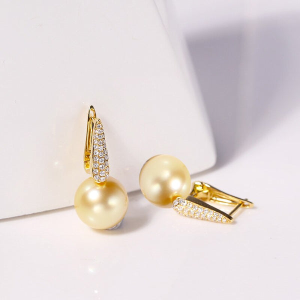 MADALENA SARARA Natural Southsea Pearl Golden Pearl AAA High Quality Pearl earrings 18k Gold Earrings Stud Luxury Women Jewelry