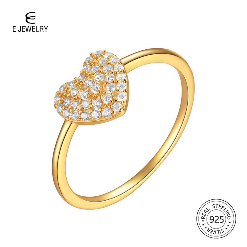 E Jewelry Heart Finger Rings 925 Sterling Silver Cubic Zirconia Engagement Ring for Women Gold Plated Glamour Jewelry Gift 2019