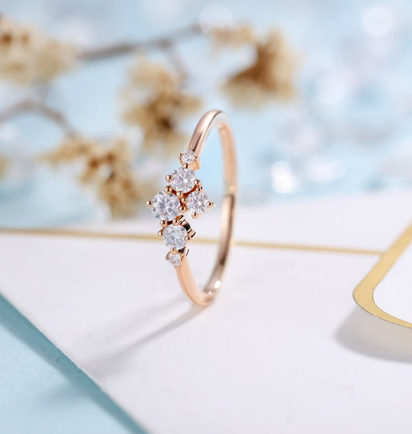 Tiny 14K Rose Gold Moissanite Wedding Band Stackable Ring for Women Aniversary Gift