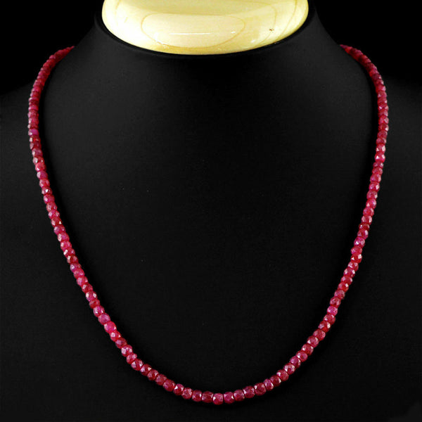 Natural 2x4mm Faceted Brazil Red Ruby Gemstone Beads Necklace 18'' AAA