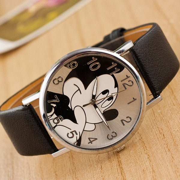2020 Fashion Mickey Cartoon Watch Bear minnie women watch boy cartoon watches imitation leather Unisex quartz wristwatch studen
