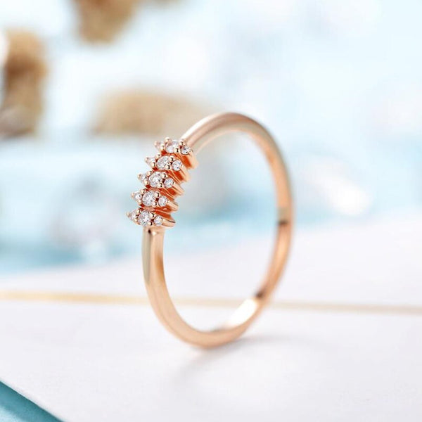 Solid 14K Rose Gold Tiny Moissanite Wedding Band Stackable Bridal Jewelry for Women Gift