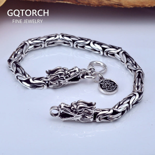 925 Sterling Silver Mens Bracelets 2020 Dragon Head Vintage Thai Punk Fashion Jewellery For Man
