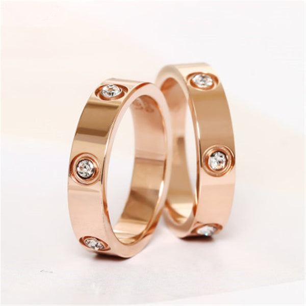 Trendy Stainless Steel Rose Gold Color Love Ring for Women Men Couple CZ Crystal Rings Luxury Brand Jewelry Wedding Gift KK050