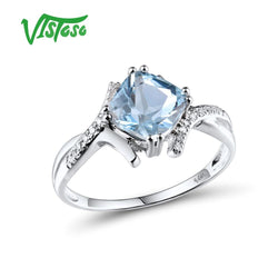 VISTOSO Gold Rings For Women Genuine 14K 585 White Gold Ring Sparkling Diamond Sky Blue Topaz Wedding Anniversary Fine Jewelry