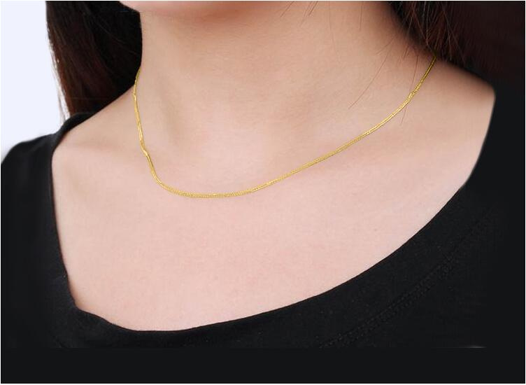 "18K Solid Gold Rolo Chain Necklace For Women 16"" 18"" 20'' GUARANTEED 18KT PURE GOLD 1mm Link Necklace Loobster Clasp Female"