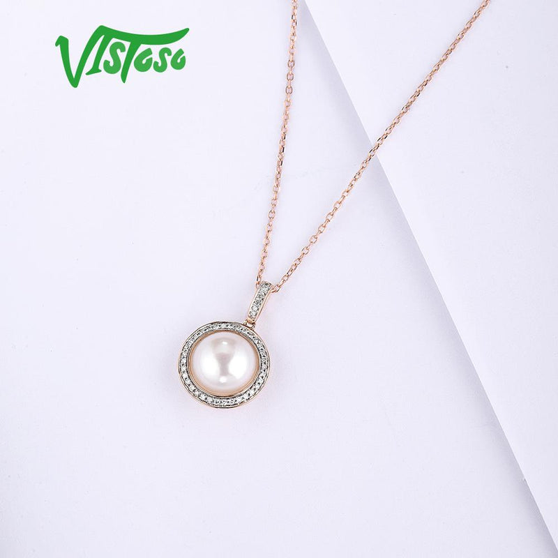 VISTOSO Gold Pendant For Women Pure 14K 585 Rose Gold Sparkling Diamond Elegant Fresh Water Pearl Pendant For Lady Fine Jewelry