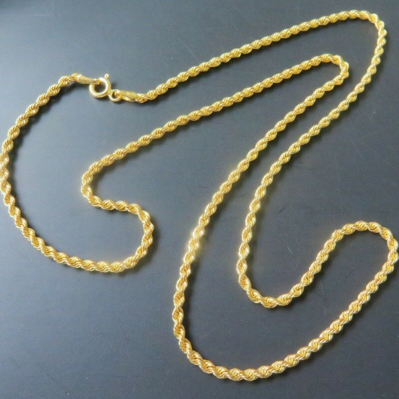 Pure Au750 18k Yellow Gold Necklace Women Men Luck Rope Chain Necklace 2mmW