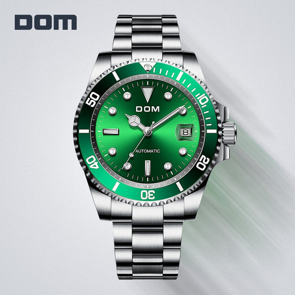 DOM Design Brand Luxury Men Watches Automatic Black Watch Men Stainless Steel Waterproof Business Sport Mechanical Wristwatch