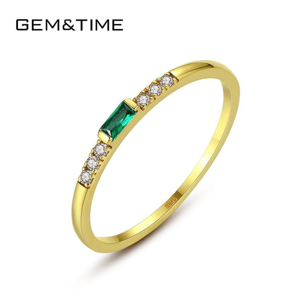 Gem&Time Pure 14k Gold Emerald Rings For Women 14K Gold 585 Engagement Ring Gemstone Fine Jewelry Anillos De Ouro Gifts R14140