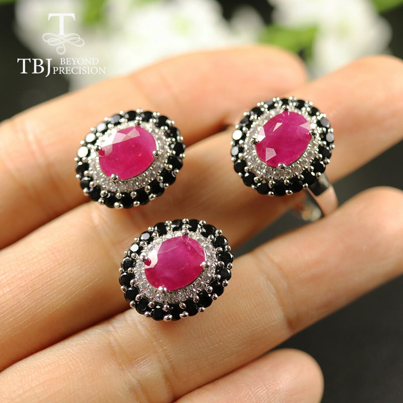 TBJ, Natural 7.8ct Ruby Jewelry Set oval cut 7*9mm real gemstone jewelry 925 sterling silver fine jewelry for women best gift