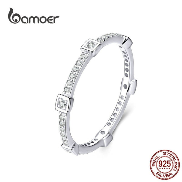 bamoer Square Geometric Stackable Finger Rings for Women Clear CZ 925 Sterling Silver Engagement Statement Jewelry SCR551