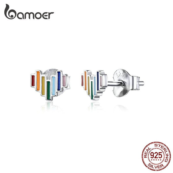 """bamoer Enamel Rainbow Heart Stud Earrings for Girls Lady Women Minimalist Silver Prevent Allergy Jewelry Brinco New SCE787"