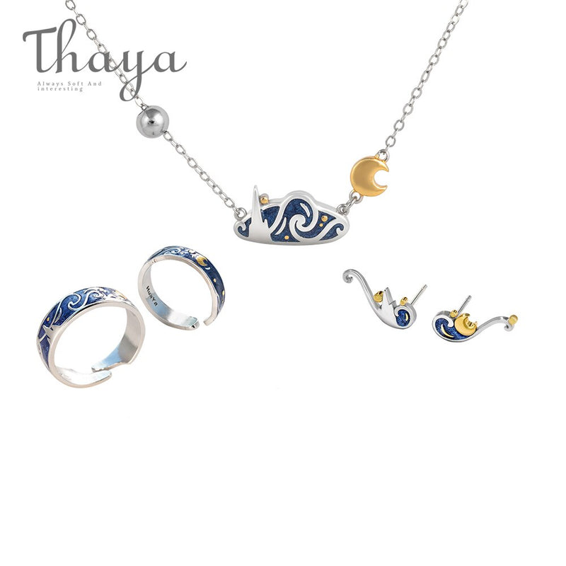 Thaya Van Gogh's Fine Jewelry Set Genuine s925 Silver Ring Enamel Necklace Earrings Stud for Women Romantic Gift