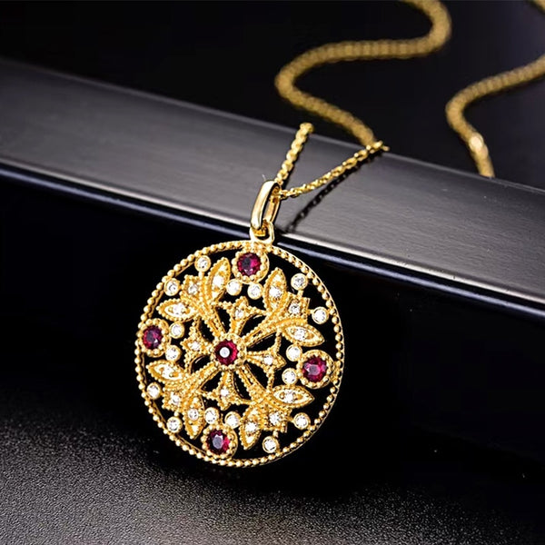 ANI 18K Solid Yellow Gold Necklace Women Engagement Natural Ruby Round Pendant Necklace Customize Real Diamond Jewelry Trendy