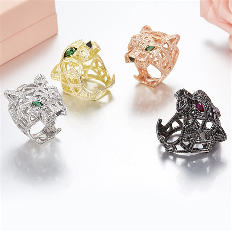 Solid 925 Sterling Silver Leopard Head Finger Rings Paved Cubic Zirconia Stones Panther Animal Hollow Rings for Men Women Party