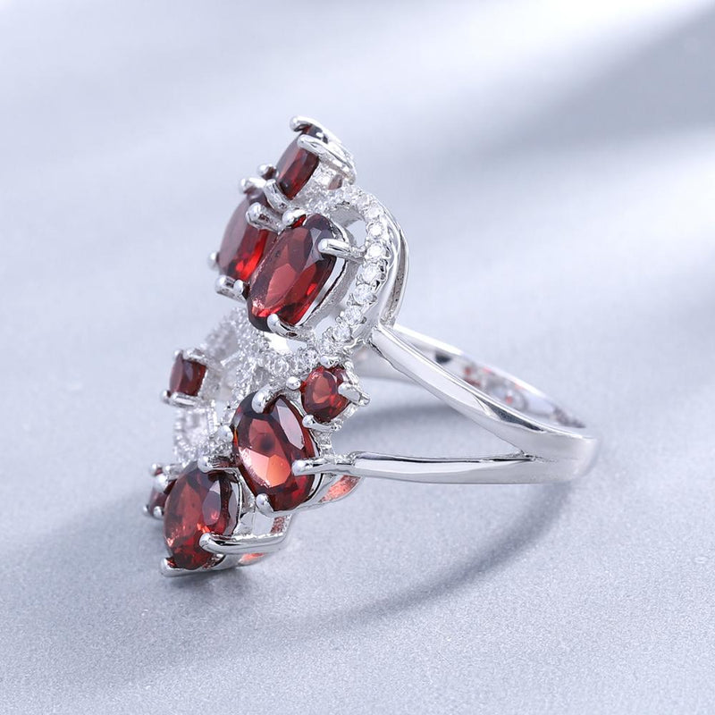 GEM'S BALLET Natural Red Garnet Vintage Flower Jewelry Set 925 Sterling Silver Gemstone Earrings Ring Set For Women Fine Jewelry