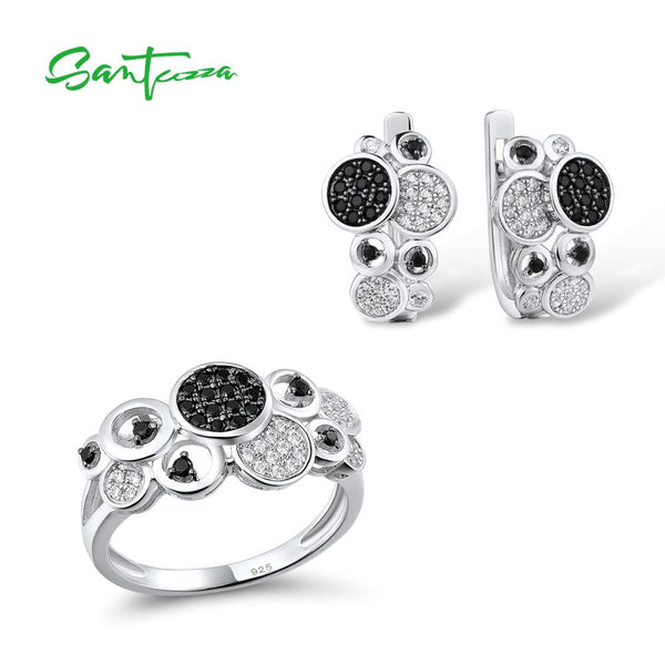 SANTUZZA Jewelry Sets for Women Pure 925 Sterling Silver Sparkling Black Spinel Trendy Ring Earrings серьги кольца Fine Jewelry