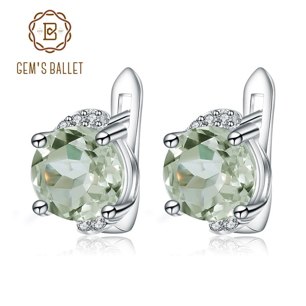 Gem's Ballet 4.08t Natural Green Amethyst Prasiolite Earrings 925 Sterling Silver Stud Earrings For Women Valentine Gift Jewelry