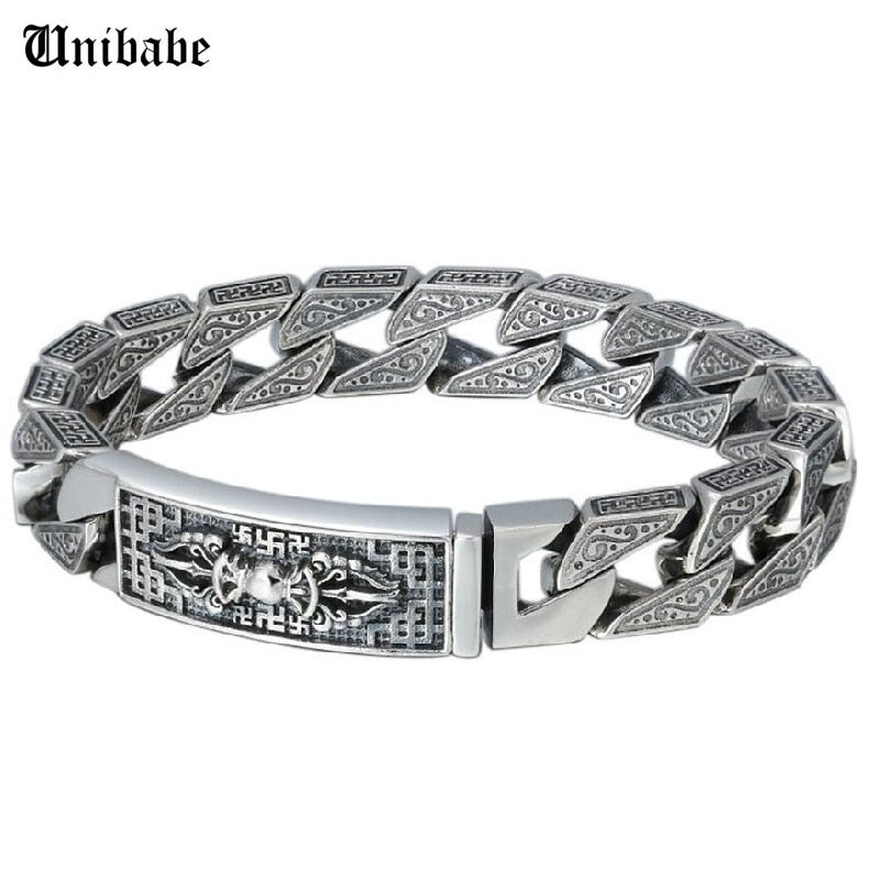 Sterling 925 Silver Vajra Six Words Mantra Carved Bangle Big Thick Solid S925 Bracelet Religious Silver Man Male Jewelry (FGL)
