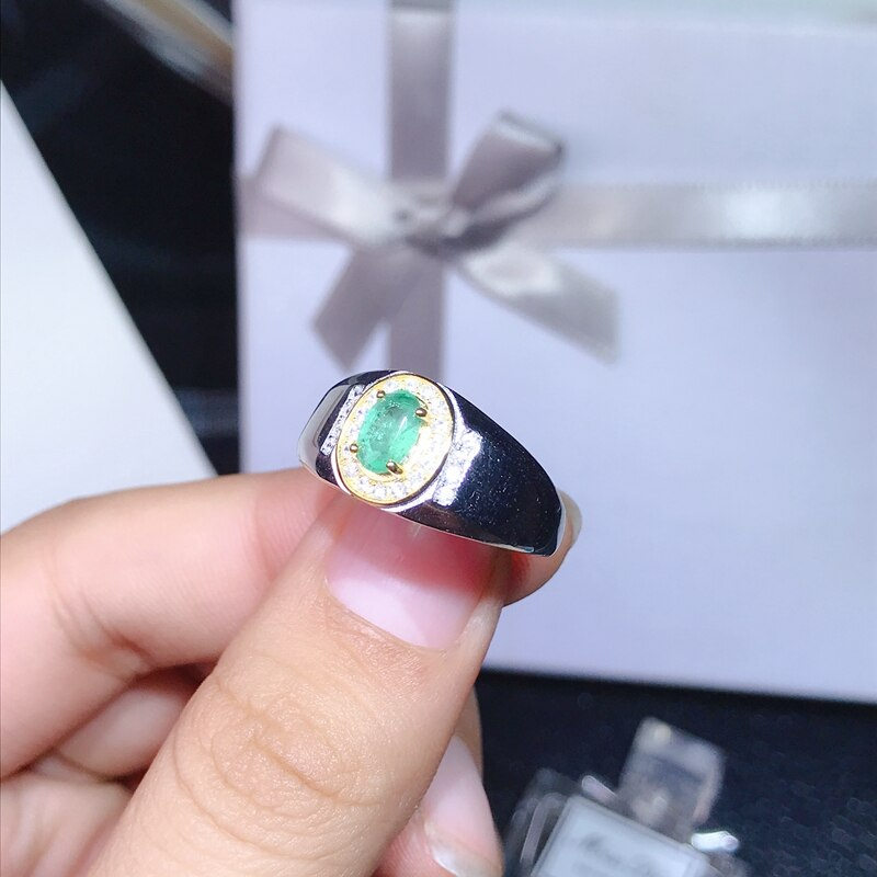 0.5 carat natural emerald men's ring adjustable size 925 sterling silver certificate package