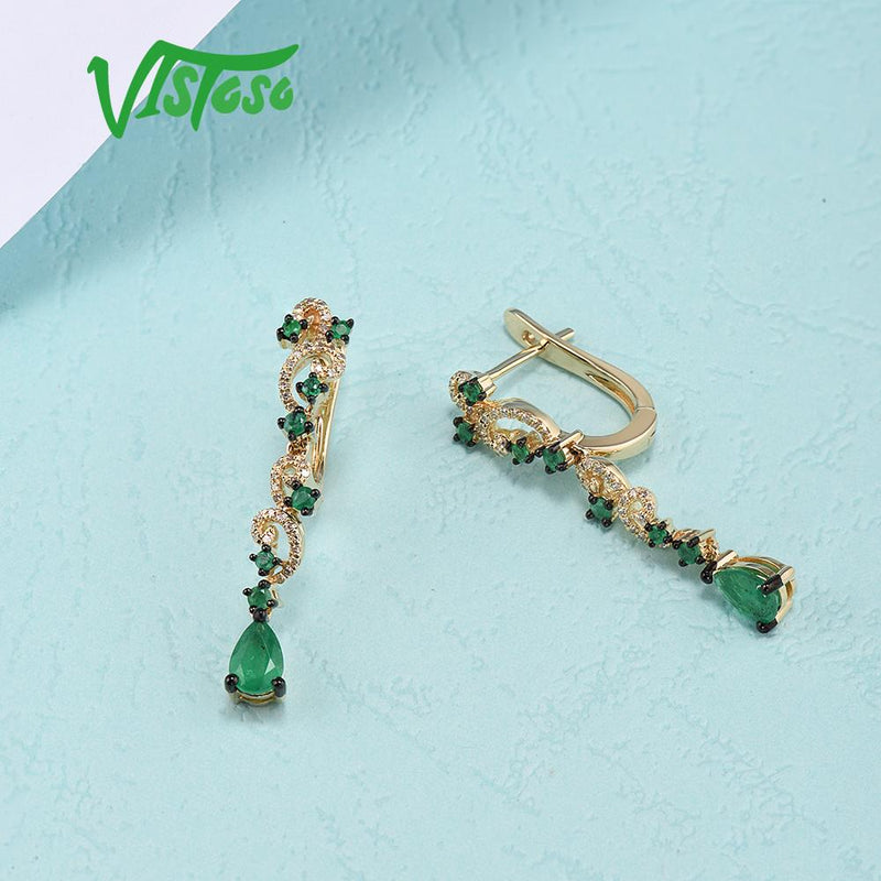 VISTOSO Gold Earrings For Women 14K 585 Yellow Gold Sparkling Emerald Luxury Diamond Wedding Anniversary Elegant Fine Jewelry