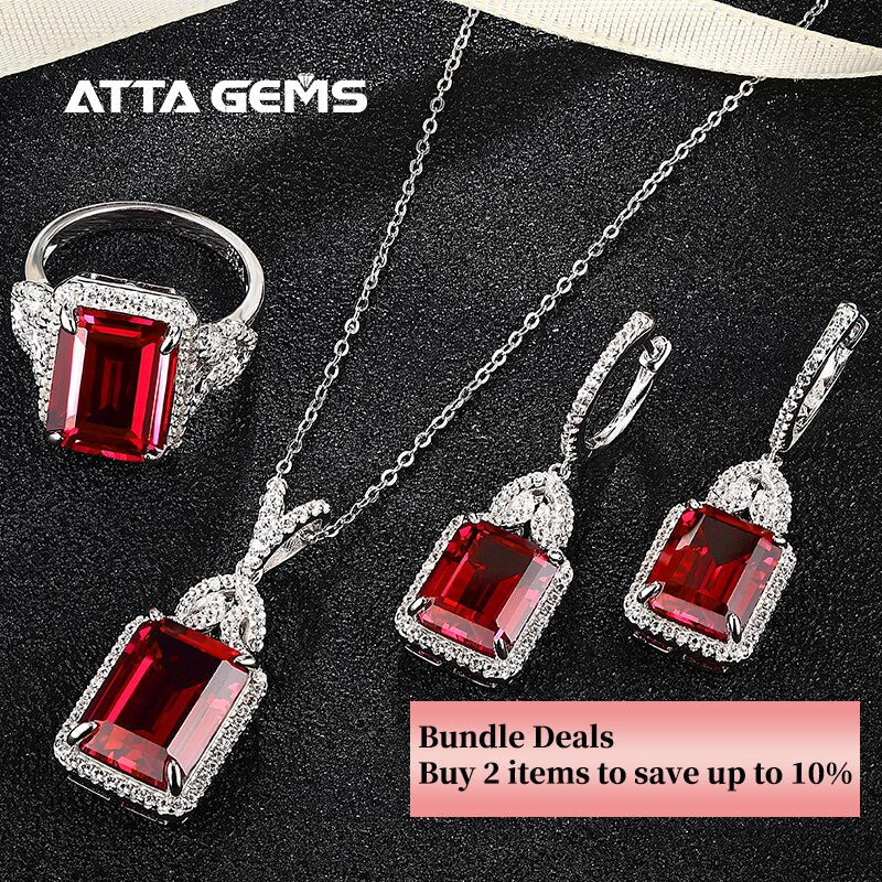 Ruby Sterling Silver Jewelry Set Octagon Cut Classic Style 26 Carats Royal Ruby Created S925 Jewelry Set Mother's Gifts