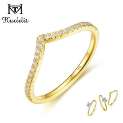 Kuololit 10K Solid Gold 100% Natural moissanite Gemstone Rings for Women Color separate band set ring for anniversary wedding