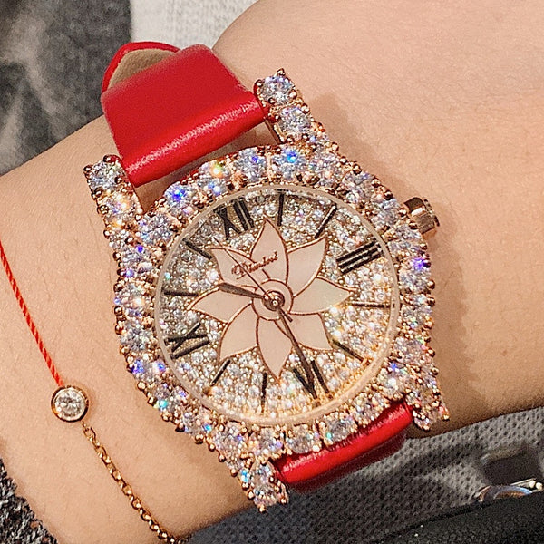 Luxury Brand Rose Diamond Woman Watch Ladies Real Leather Dress Watches Women Crystal Quartz Watches Dropshipping Hot Sales 2020