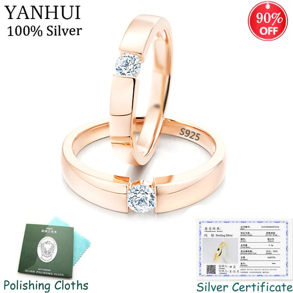 YANHUI With Certificate 925 Silver Jewelry 1.0ct Zircon Engagement Rings for Lover Gold Color Wedding Ring for Men and Women R16