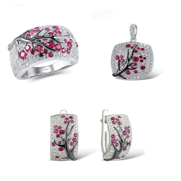 Romantic 925 Sterling Silver Jewelry Sets for Women Shiny Red Zircon Leaves Branch Necklace+Ring+Earrings Unique Female Gift