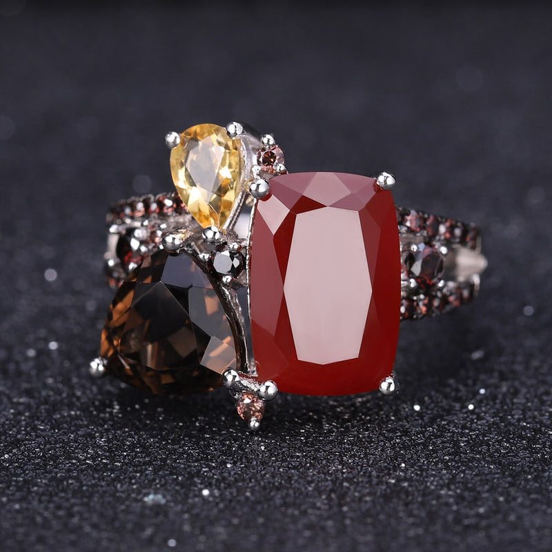 GEM'S BALLE Natural Red Agate Smoky Quartz Gemstone Ring Earrings Pendant Set 925 Sterling Silver Candy Jewelry Set For Women