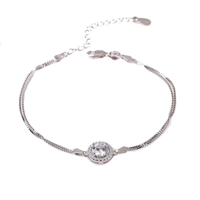 Natural Moissanite Bracelet for Women Female 1 Carat 6.5mm Round Moissanite 925 Pure Silver Luxury Bracelets with Certificate