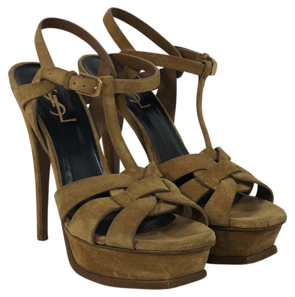 www.ChicagoConsignment.com Yves Saint Laurent Tribute Platform Stiletto in Tan Waxed Suede