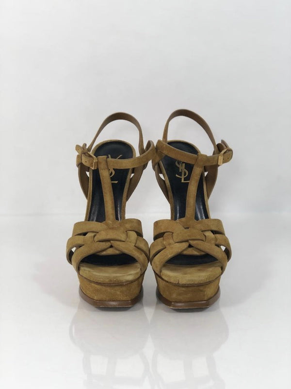 """YSL"" Yves Saint Laurent Tribute Platform Stiletto in Tan Waxed Suede"