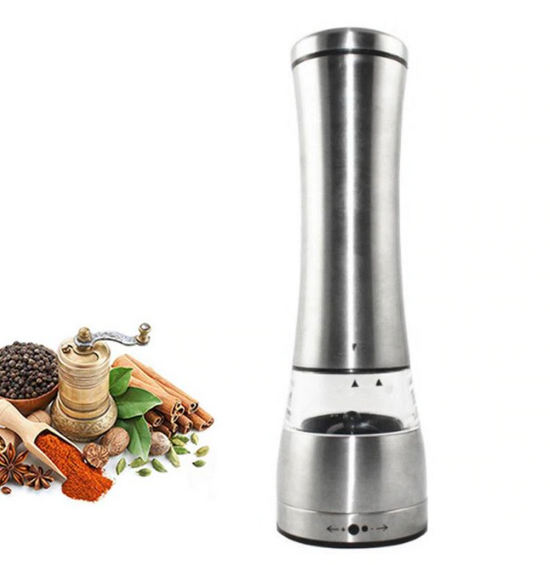 Stainless Steel Electric Pepper or Salt Grinder Adjustable Arc Shakers Kitchen Tool Electric Battery Operated