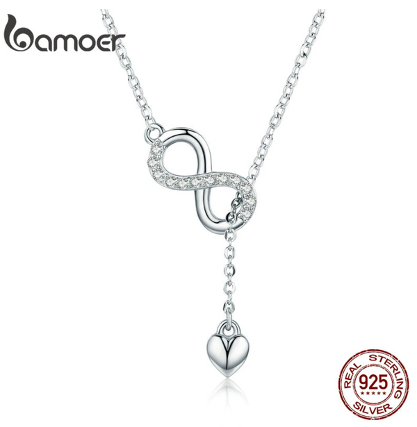 925 Sterling Silver Infinity Forever Love Chain Pendant Necklaces for Women Sterling Silver Jewelry SCN223
