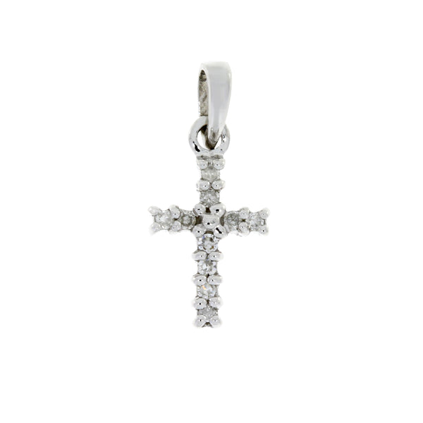 .05ct Diamond Cross Religious Pendant 10KT White Gold