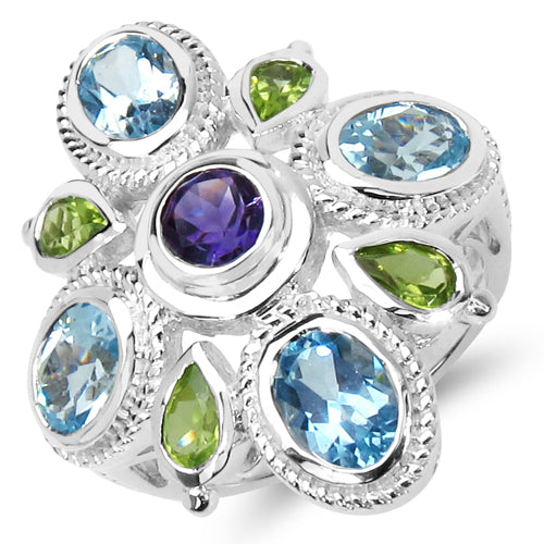 """5.13 Carat Genuine Amethyst  Blue Topaz & Peridot .925 Sterling Silver Ring"""