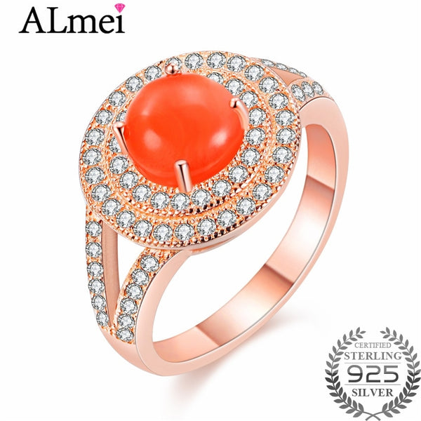 Almei 2ct Orange Natural Agate Halo Wedding Rings Women Rose Gold Color African Beads 925 Sterling-Silver-Jewelry with Box CJ025