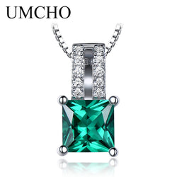 UMCHO Pure 925 Sterling Silver Pendants For Women Green Princess-cut Emerald Charm Wedding Pendant Fine Jewelry Without Chain