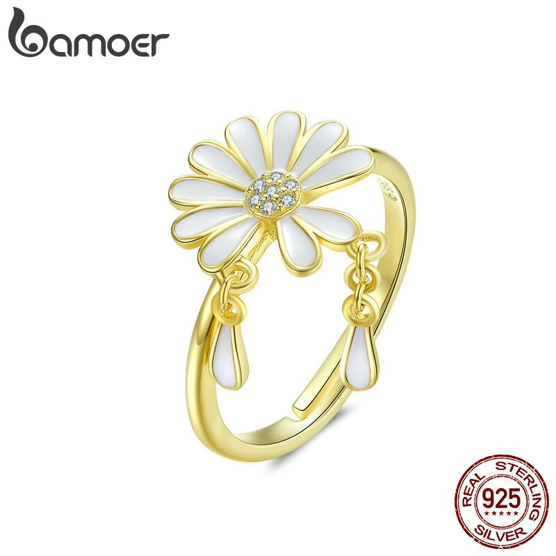 Falling Petal Daisy Finger Rings for Women White Enamel Flower Design Adjustable Ring Sterling Silver 925 Jewelry BSR050