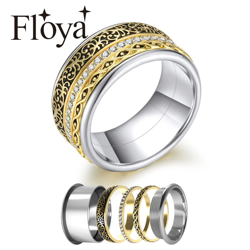 Floya Stackable Rings For Women Bridal Set Base Accessories Rotatable Jewelry Stainless Steel Arctic Symphony Rings Collection