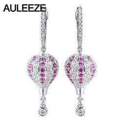 AULEEZE Hot Air Balloon Design 18K White Gold Natural Pink Sapphire Drop Earrings Real Gemstone Diamond Anniversary Gift