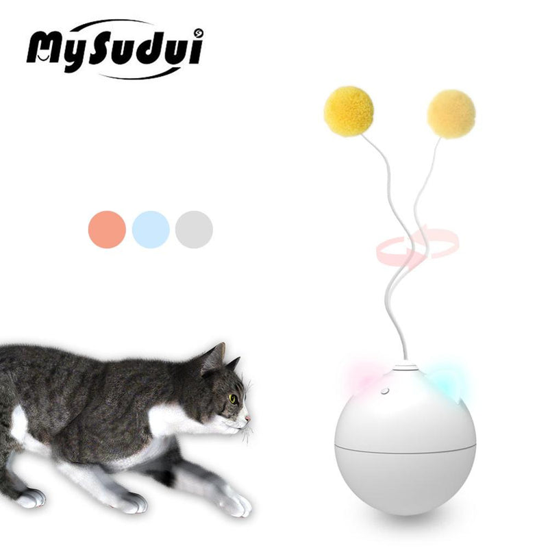 Automatic Cat Toy Ball Rolling Colorful Led Ear Cat Toys Interactive Electric Cat Stick Toy Pet Gatos Productos Para Mascotas