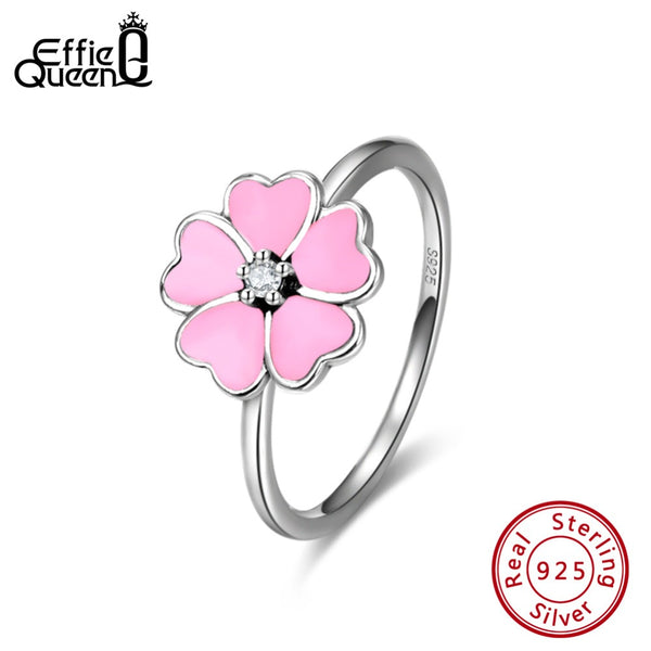 Effie Queen Real 925 Sterling Silver Women Rings With Pink Enamel Romantic Flower Shape Wedding Band Ring Silver Jewelry BR114